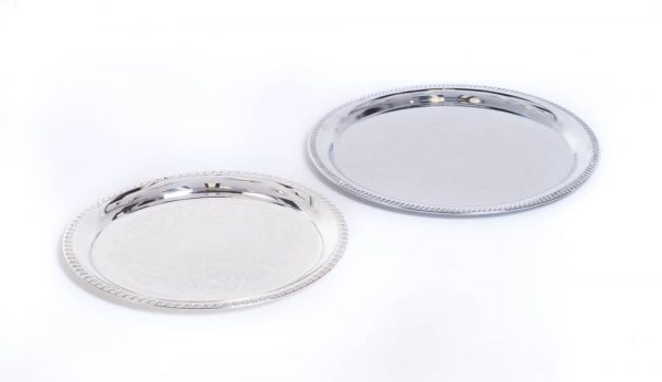 Round Silver Trays 12 Inches & 14 Inches