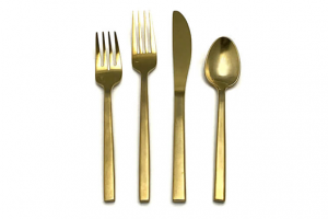 Gold flatware set from FLEXX Productions.