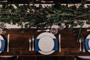 Rustic wedding table setting.
