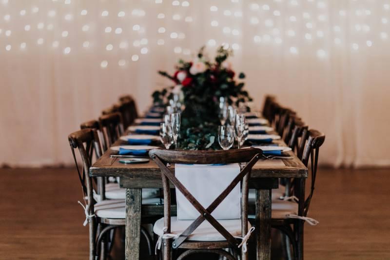 Rustic Wedding tables at Rocky Mountain Bride.