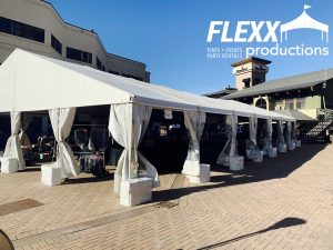 Clearspan Tent with Concrete Weight Covers